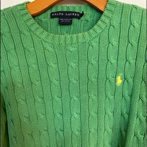 Ralph Lauren Green Sweater Cable Knit Size Medium
